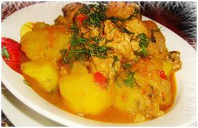Мясное рагу с соусом «Ткемали из желтой алычи» от «TASTY MAGIC»