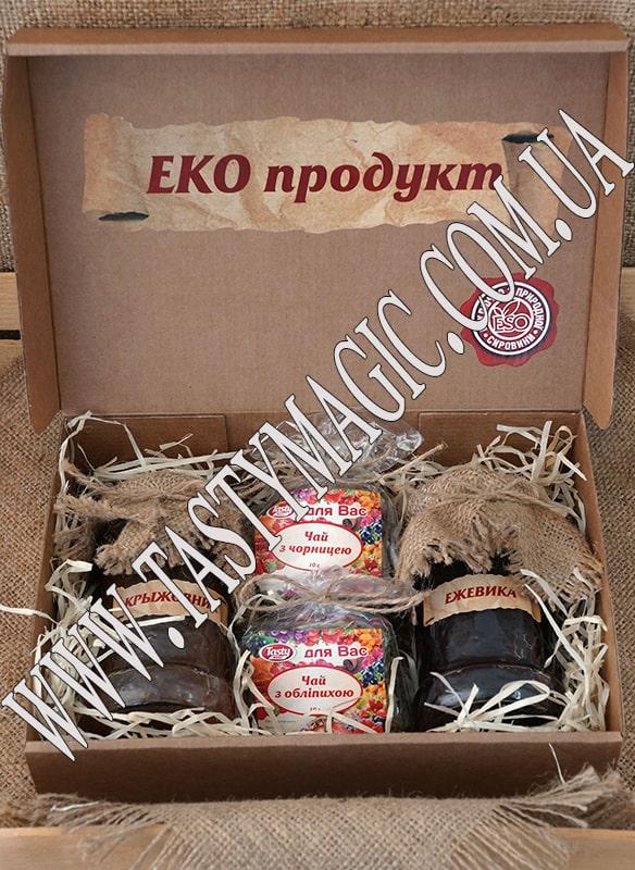 Эко-набор варенье ежевика, крыжовник -чай ягодно-травяной облепиховый, черничный