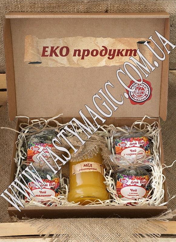 Эко-набор натуральный мед – чай ягодно-травяной с зеленым чаем, черника, с черным чаем, малина